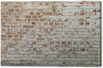 Canvas Achtergrond van oude vintage vuile bakstenen muur met peeling gips