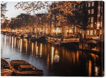 Canvas Amsterdam bij nacht, Nederland
