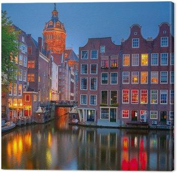 Canvas Amsterdam bij nacht