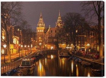 Canvas Amsterdam in de avond. Bekijk in het Rijksmuseum