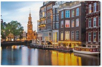 Canvas Amsterdam stadsgezicht met de Munt toren in de schemering