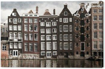 Canvas Amsterdamse grachtenpanden