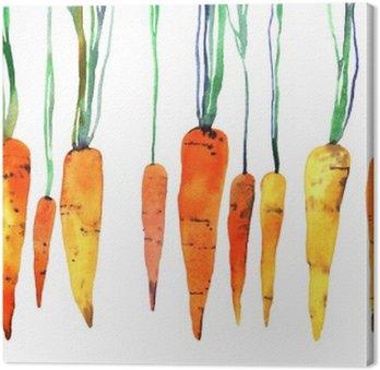 Canvas Aquarel hand beschilderde wortel