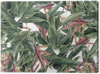 Canvas Aquarel schilderen van bladeren en bloemen, naadloos patroon