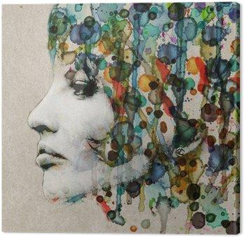 Canvas Aquarel vrouwelijke profiel