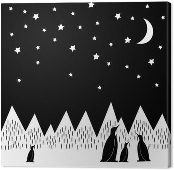 Canvas Arctic nacht vector illustratie met pinguïns familie, geometrisch besneeuwde bergen, de maan en de sterren. Zwart-witte Druk van de Natuur. Leuke bergen landschap achtergrond.