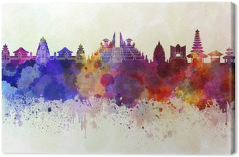 Canvas Bali skyline in aquarel achtergrond