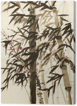 Canvas Bamboe bomen en pruimen tak