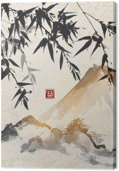 Canvas Bamboe en bergen. Traditionele Japanse inkt schilderen sumi-e. Bevat hiëroglief - dubbel geluk.