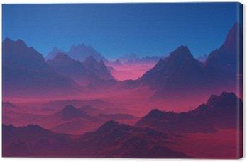Canvas Bergen bij zonsondergang