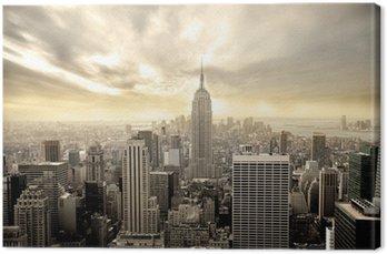 Canvas Bewolkte lucht boven Manhattan