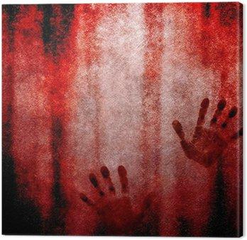 Canvas Bloederige handafdruk op de muur