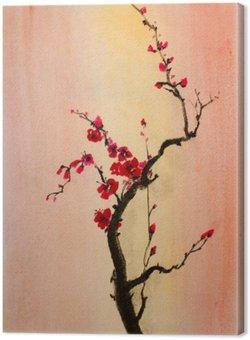 Canvas Bloeiende tak van cherry