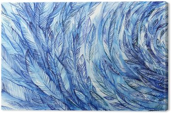 Canvas blue feathers in a circle, watercolor abstract background