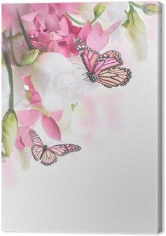 Canvas Boeket van witte en roze rozen, vlinder. Bloemen achtergrond.