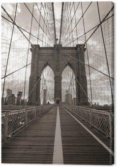 Canvas Brooklyn Bridge in New York. Sepia toon.