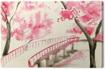 Canvas Brug onder kersenbloesems, Chinese stijl landschap