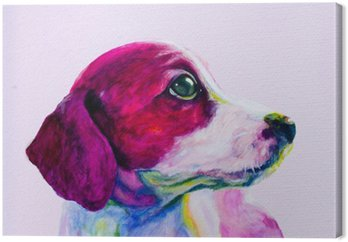 Canvas Buddy Portret van een jonge hond, puppy in neon kleuren. Kijken en verlangen naar aandacht