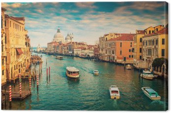 Canvas Canal Grande in Venetië, Italië. Kleur filter toegepast.
