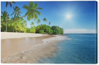 Canvas Caribische zee en palmen