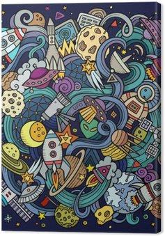 Canvas Cartoon hand getekende doodles Space illustratie