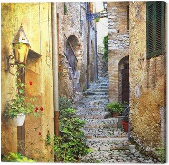 Canvas Charmante oude straatjes van de mediterrane