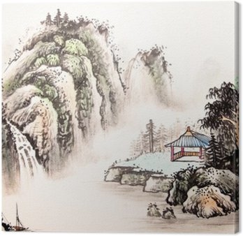 Canvas Chinese landschap aquarel painting__