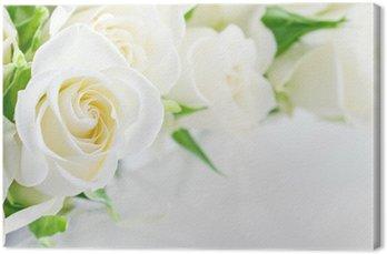 Canvas Close-up van witte rozen
