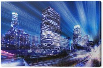 Canvas Composiet van Los Angeles met binaire code