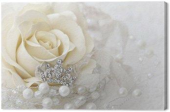 Canvas Crèmekleurige roos met juwelen kroon