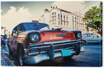 Canvas Cubaanse oude auto's