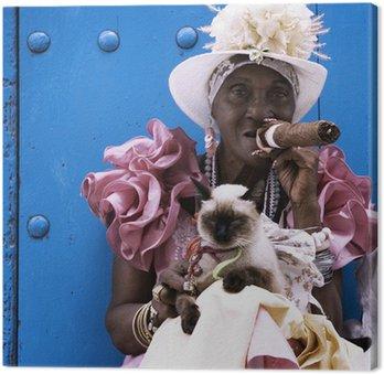 Canvas Cubaanse sigaar dame