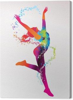 Canvas De dansende meisje met kleurrijke vlekken en spatten op een lichte bac