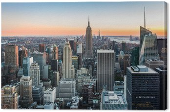 Canvas De horizon van New York bij zonsondergang