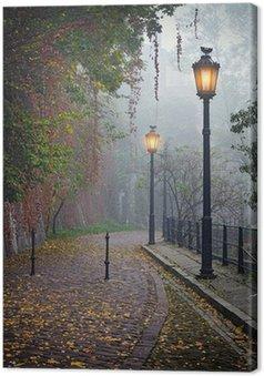 Canvas De mysterieuze steegje in mistige herfst tijd met verlichte lampen