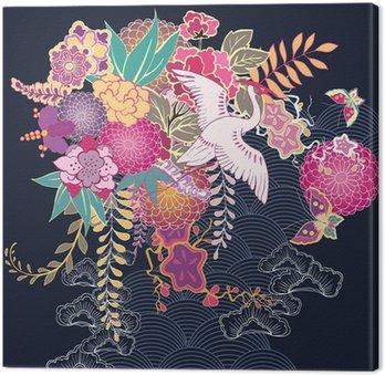 Canvas Decoratief bloemenmotief kimono