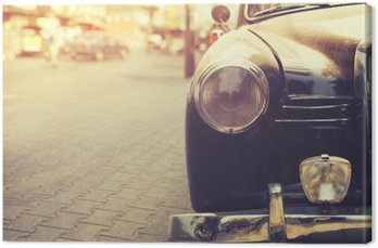 Canvas Detail van koplamp lamp klassieke auto geparkeerd in stedelijke - vintage filter effect stijl