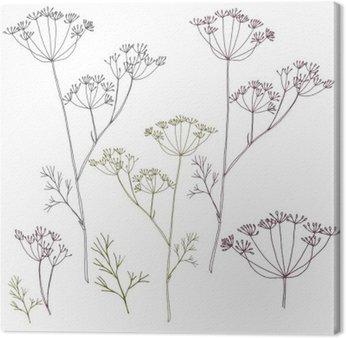 Canvas Dille of venkel bloemen en bladeren.