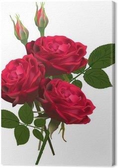 Canvas Drie rode rozen bos geïsoleerd op wit