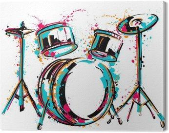 Canvas Drumstel met spatten in aquarel stijl. Kleurrijke hand getrokken vector illustratie