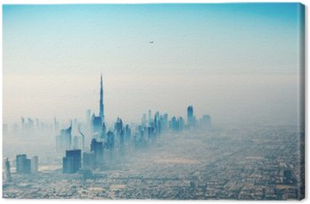 Canvas Dubai stad in zonsopgang luchtfoto