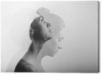 Canvas Dubbele belichting met jong en mooi meisje, zwart-wit