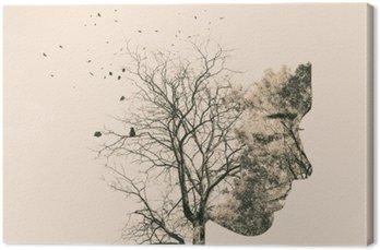 Canvas Dubbele blootstelling portret van een jonge vrouw en de herfst bomen.
