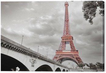 Canvas Eiffel toren monochrome selectieve kleuring