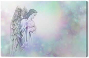 Canvas Engel op zachte mistige bokeh frame achtergrond