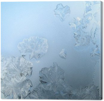 Canvas Frosty patroon op een winter venster glas