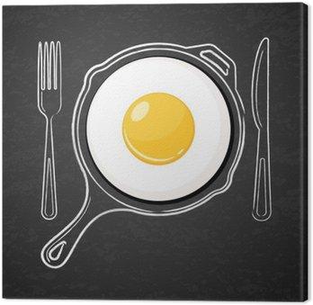 Canvas Gebakken ei en met de hand getekende omtrek aquarel pan, vork en mes