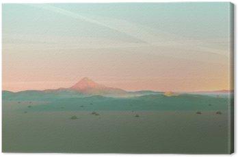 Canvas Geometrische Mountain Landschap met Gradient Sky