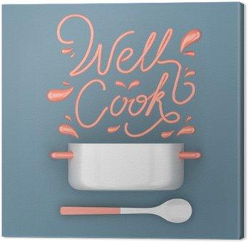 Canvas Goed koken offerte met pot modern 3D-rendering 3D-afbeelding