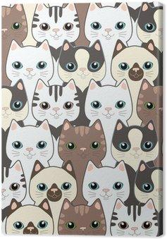 Canvas Grappige cartoon katten. Naadloze patroon